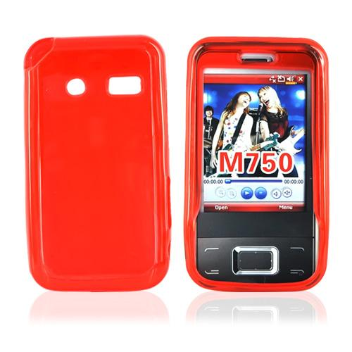 Huawei M750 Crystal Silicone Cas, Rubber Skine w/ Screen Protector - Argyle Print on Transparent Red