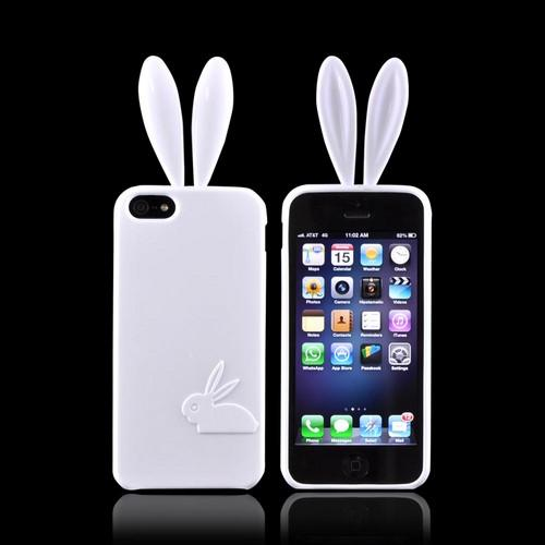 Apple iPhone 5/5S Crystal Silicone Case w/ Bunny Ears - White