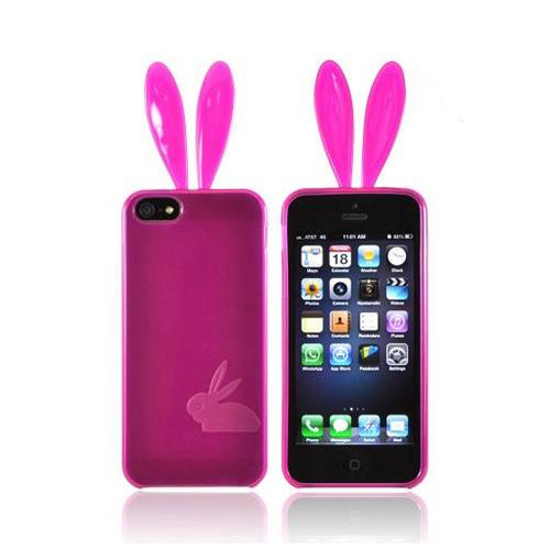 Apple iPhone 5/5S Crystal Silicone Case w/ Bunny Ears - Hot Pink