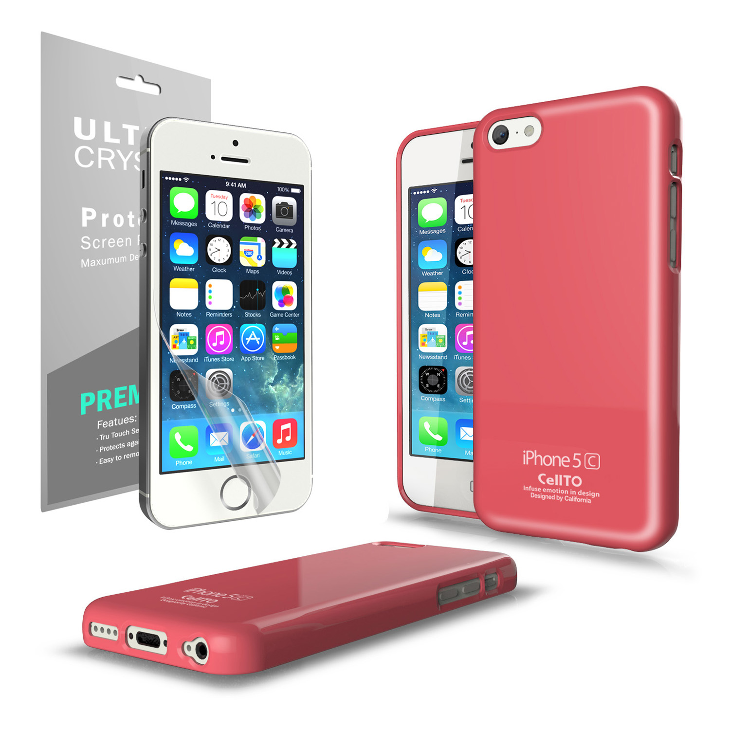 Baby Pink CellLine Anti-Slip TPU Crystal Silicone Skin Case & Free Screen Protector for Apple iPhone 5C