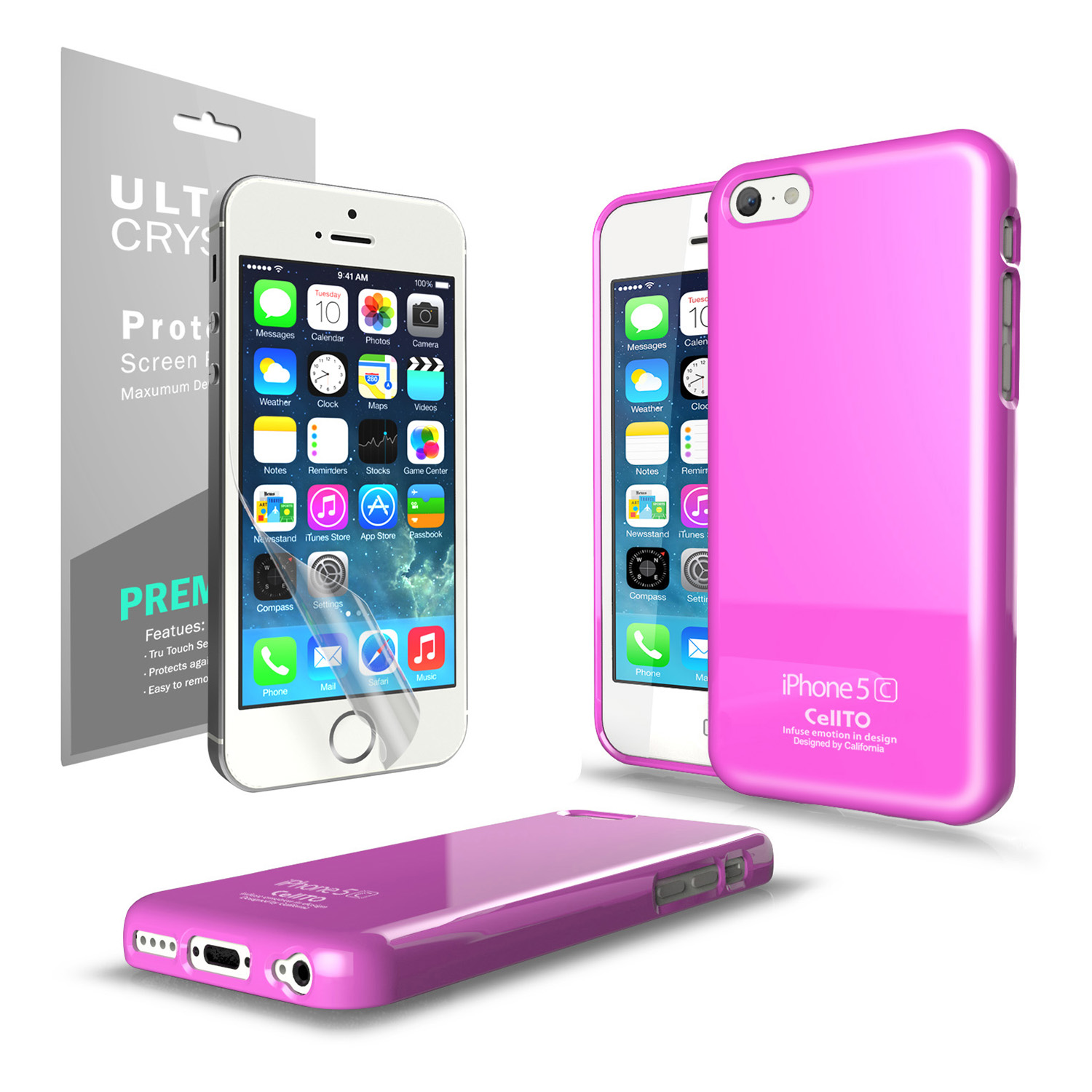 Hot Pink CellLine Anti-Slip TPU Crystal Silicone Skin Case & Free Screen Protector for Apple iPhone 5C