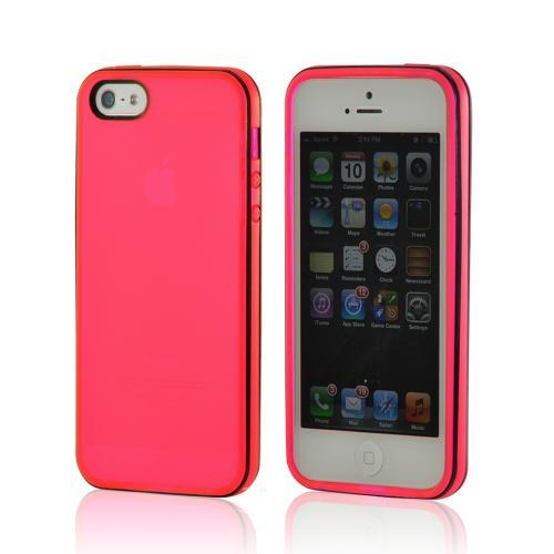 Hot Pink w/ Black Border Crystal Silicone Case for Apple iPhone 5/5S