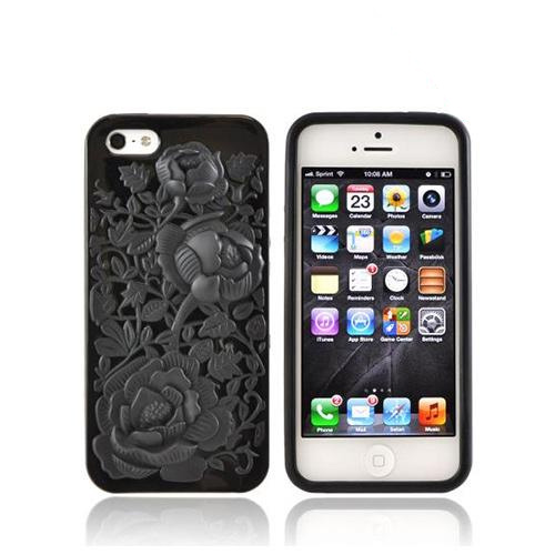 Apple iPhone 5/5S Crystal Silicone Case - Black Roses