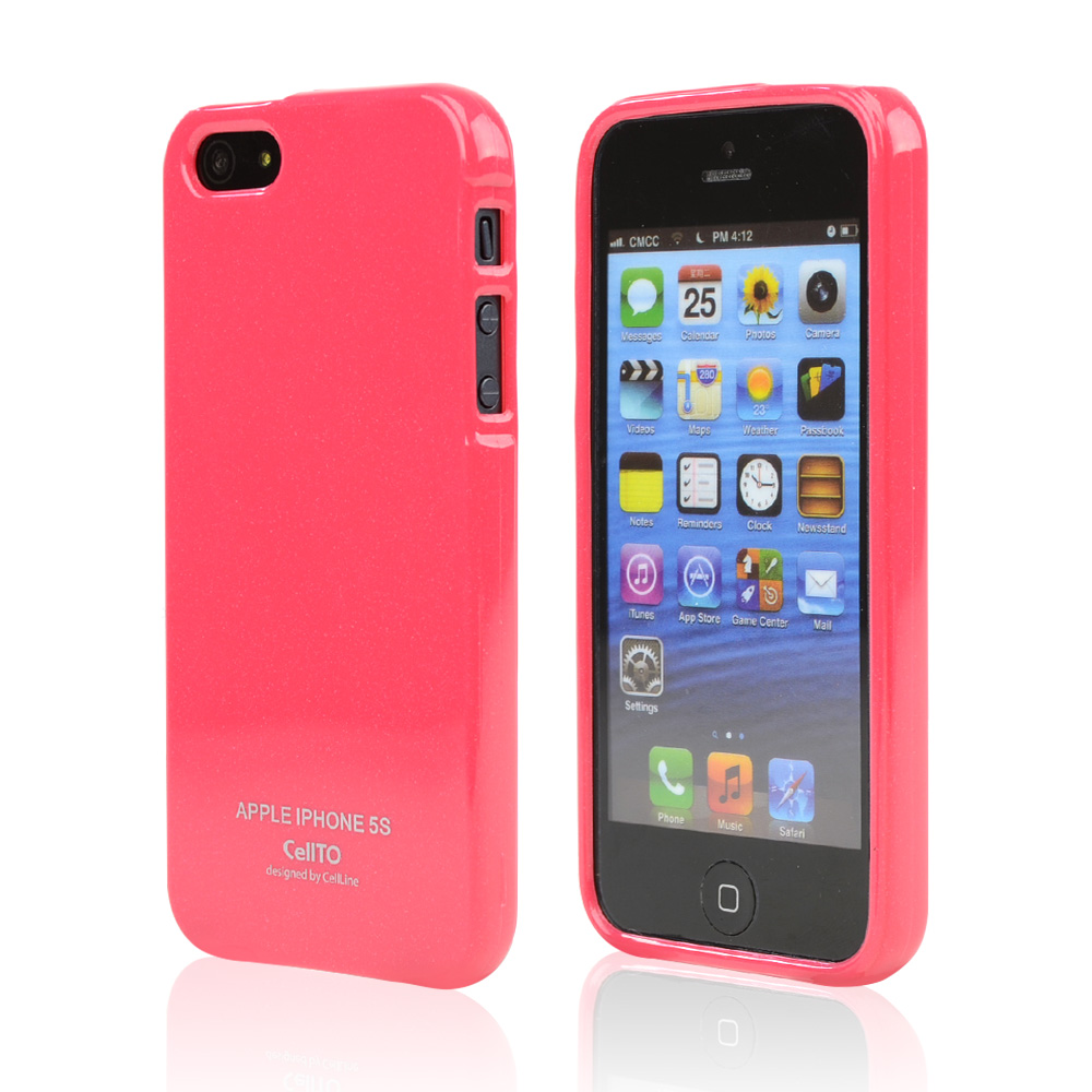 Candy Apple Red CellLine Anti-Slip Shimmer TPU Crystal Silicone Skin Case + Free Screen Protector for Apple iPhone 5/5S