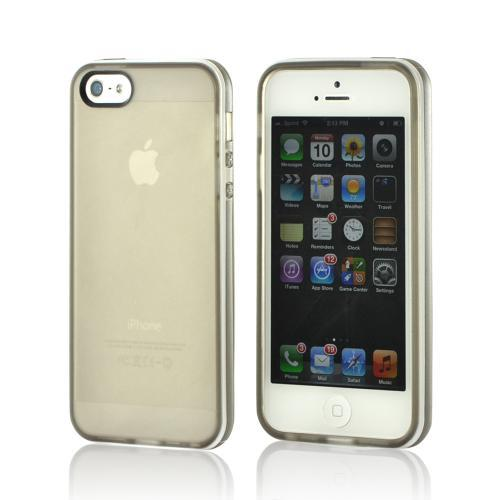 Smoke w/ White Border Crystal Silicone Case for Apple iPhone 5/5S