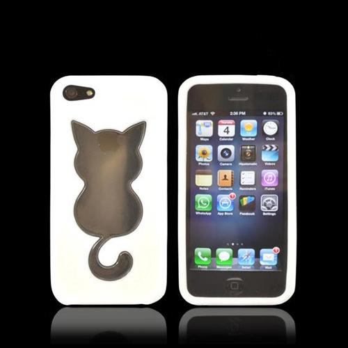 Apple iPhone 5/5S Crystal Silicone Case - White w/ Cat Imprint