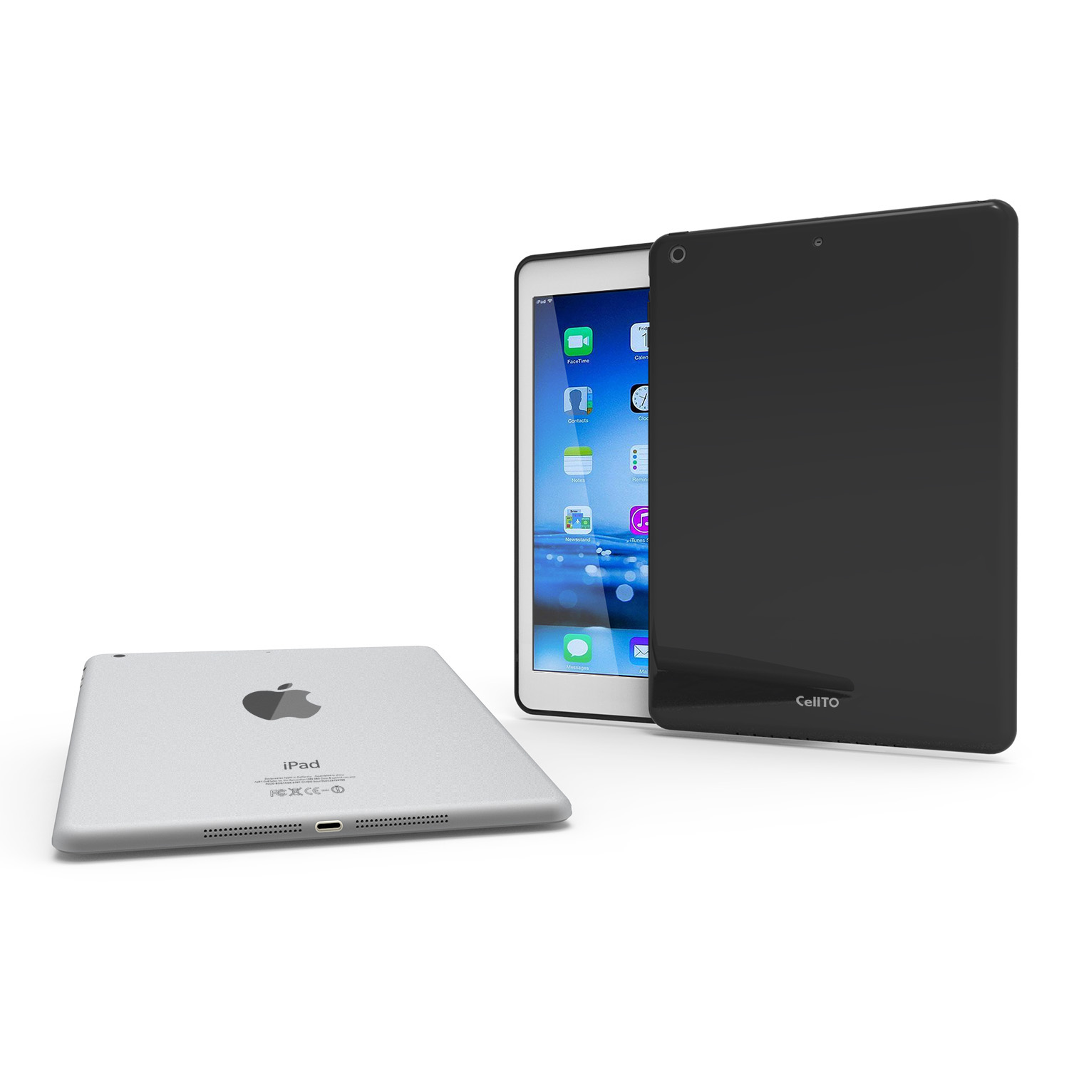 Black CellTo Anti-Slip TPU Crystal Silicone Skin Case & Free Screen Protector for Apple iPad Air