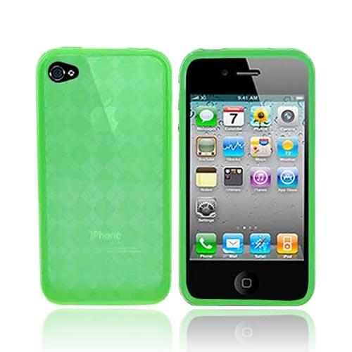 Apple iPhone 4 Crystal Silicone Case, Rubber Skin - Argyle Print Transparent Green