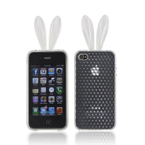 AT&T/ Verizon Apple iPhone 4, iPhone 4S Crystal Silicone Case w/ Bunny Ears - Clear