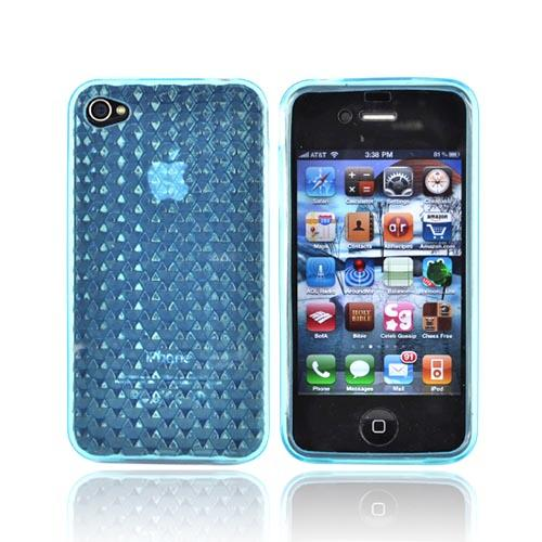 Apple iPhone 4 Silicone case Crystal - Geometric Cube Baby Blue