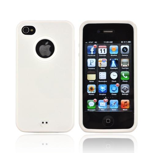 AT&T/ Verizon Apple iPhone 4, iPhone 4S Crystal Silicone Case w/ Dust Protection - White