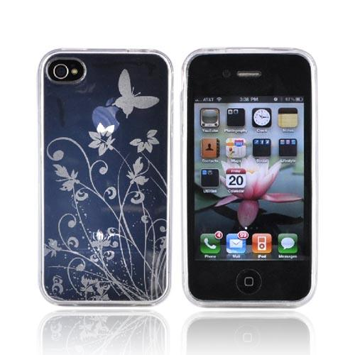 Luxmo Apple iPhone 4 Crystal Silicone Case - Floral and Butterfly Design on Clear
