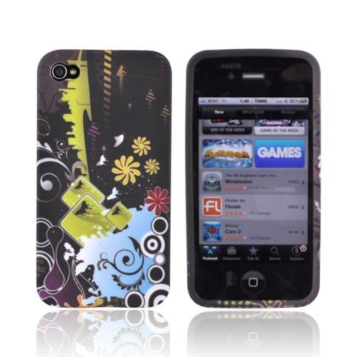 Premium AT&T/ Verizon Apple iPhone 4 Crystal Silicone Case - Urban Scene on Black