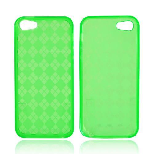 Apple iPhone 5/5S Crystal Silicone Case - Argyle Green