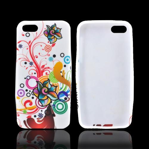 Apple iPhone 5/5S Crystal Silicone Case - Autumn Floral Burst on White