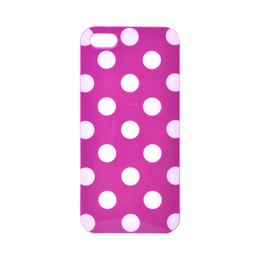 Apple iPhone 5/5S Crystal Silicone Case - White Polka Dots on Purple