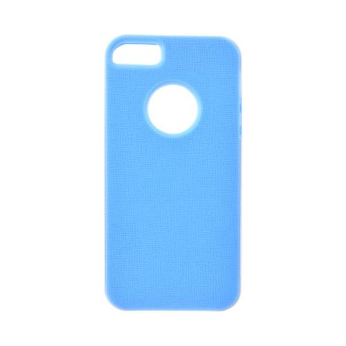 Apple iPhone 5/5S Crystal Silicone Case w/ Bumper - Sky Blue/ White