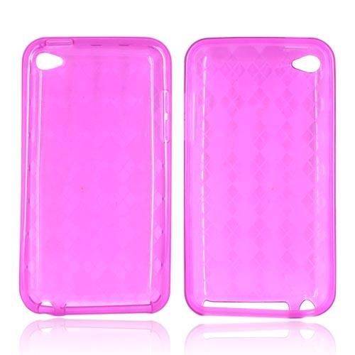 Luxmo Apple iPod Touch 4 Crystal Silicone Case - Diamonds on Hot Pink
