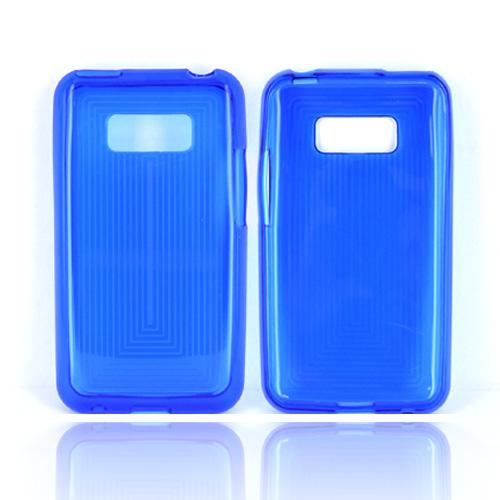 LG Optimus Elite Crystal Silicone Case - Blue Line Design
