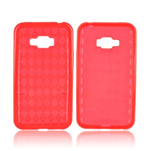 LG Optimus Elite Crystal Silicone Case - Argyle Red