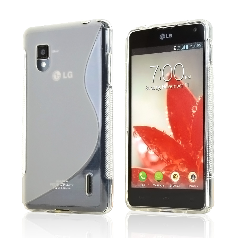 Clear Frost White S Design Crystal Silicone Case for LG Optimus G (Sprint)