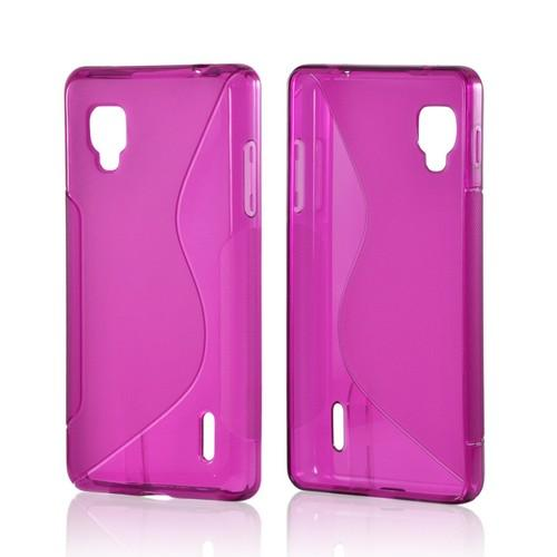Magenta S Back Design Crystal Silicone Case for LG Optimus G (Sprint)