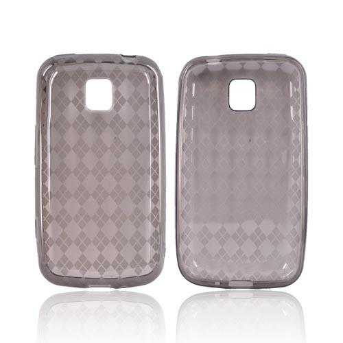 LG Optimus M MS690 Crystal Silicone Case - Argyle Smoke