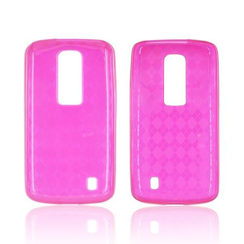 LG Nitro HD Crystal Silicone Case - Argyle Hot Pink