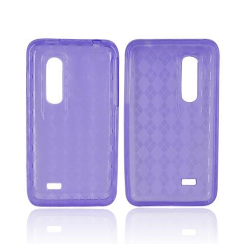 LG Thrill 4G Crystal Silicone Case - Argyle Purple