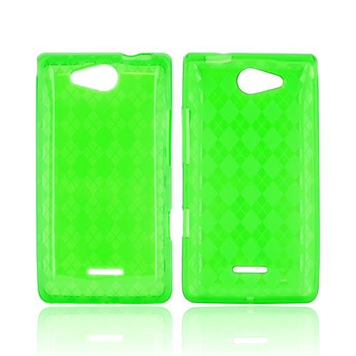 LG Lucid VS840 Crystal Silicone Case - Argyle Green