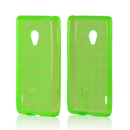 Neon Green Argyle Crystal Silicone Case for LG Spirit 4G