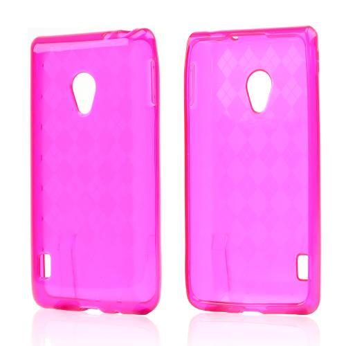 Argyle Hot Pink Crystal Silicone Case for LG Lucid 2