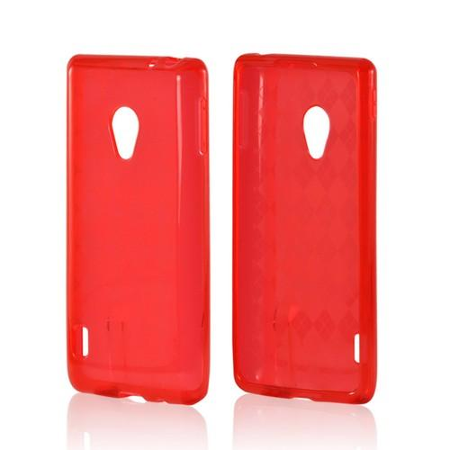 Red Argyle Crystal Silicone Case for LG Spirit 4G