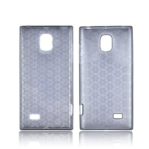 LG Optimus VS930 (Optimus LTE II) Crystal Silicone Case - Smoke Hex Star