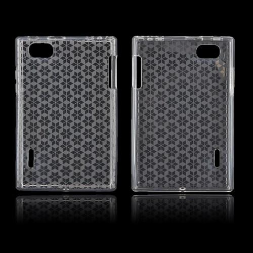 LG Optimus Vu VS950 Crystal Silicone Case - Transparent Clear Hex Star