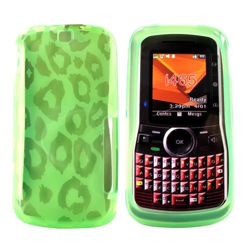 Motorola Clutch I465 Crystal Gel Silicone Case - Leopard Print on Transparent Green