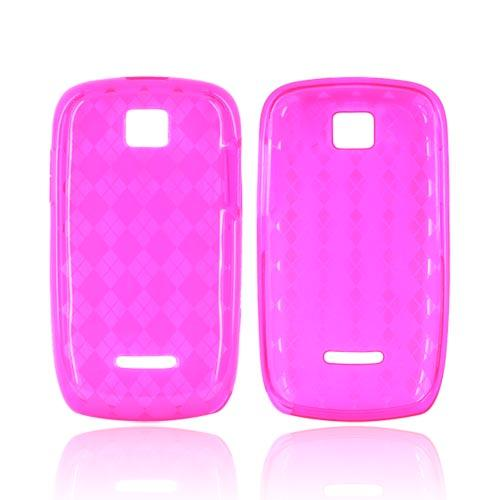 Motorola Theory Crystal Silicone Case - Argyle Hot Pink