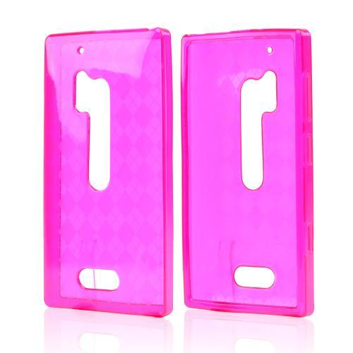 Argyle Hot Pink Crystal Silicone Skin Case for Nokia Lumia 928