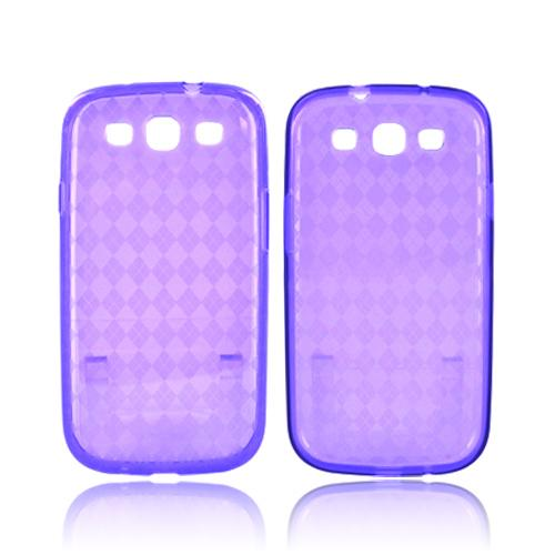 Samsung Galaxy S3 Crystal Silicone Case - Argyle Purple