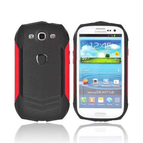 Samsung Galaxy S3 Crystal Silicone Autobahns Case w/ Interchangeable Sides - Black/ Red