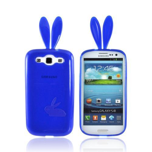 Samsung Galaxy S3 Crystal Silicone Case w/ Bunny Ears - Blue