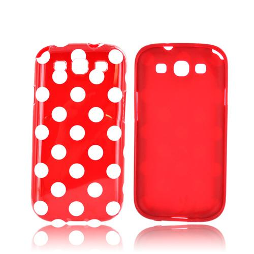 Samsung Galaxy S3 Crystal Silicone Case - White Polka Dots on Red