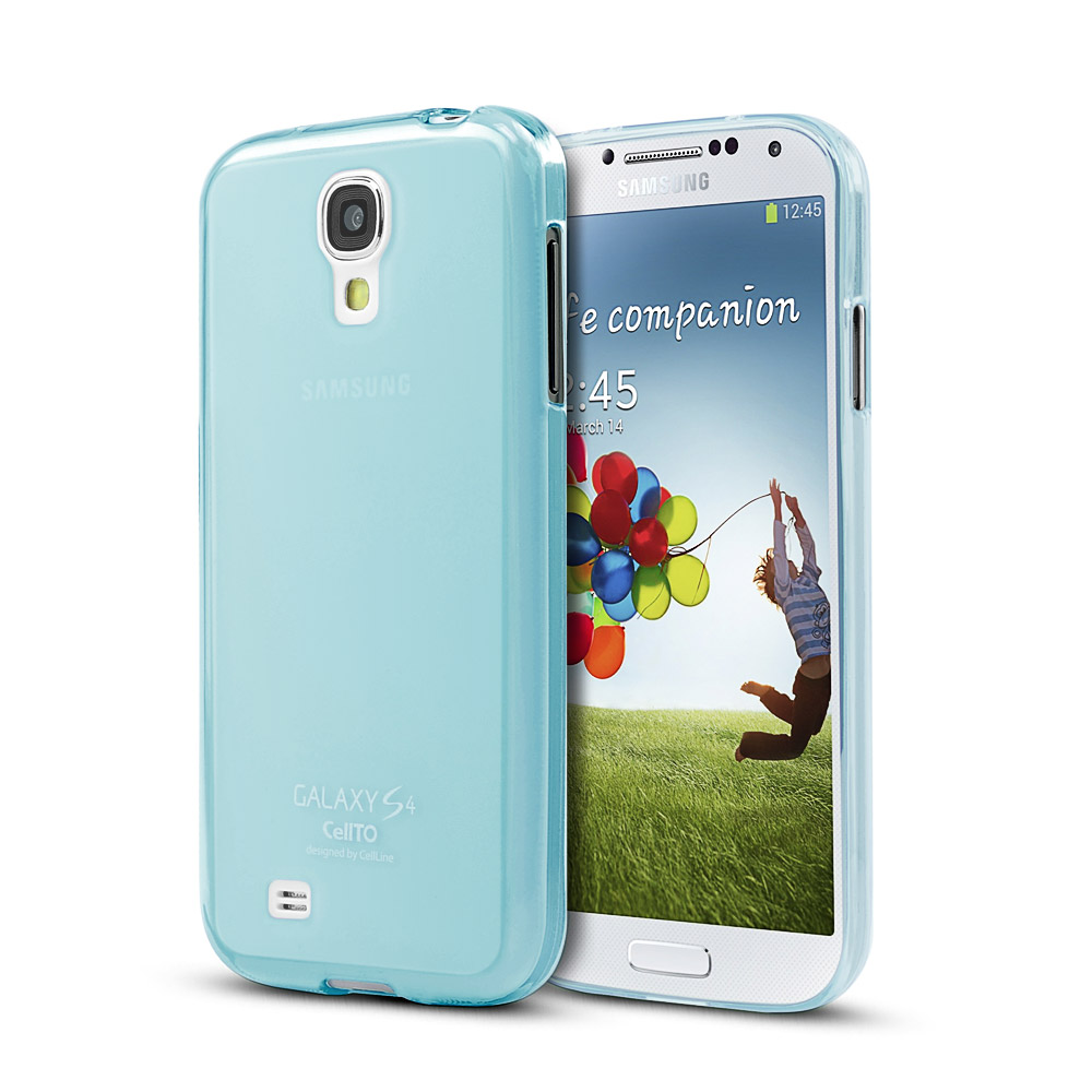 Blue/ Frosted CellLine Matte Crystal Silicone Skin Case for Samsung Galaxy S4