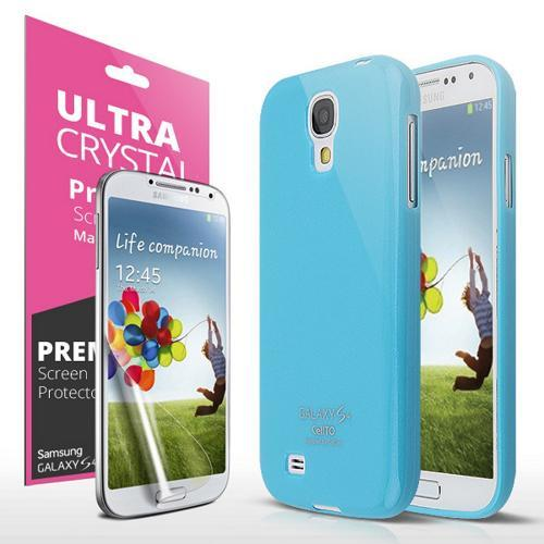 Sky Blue w/ Glitter Shimmer Exclusive CellLine Anti-Slip TPU Crystal Silicone Case + Free Screen Protector for Samsung Galaxy S4