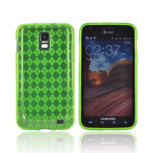 Samsung Galaxy S2 Skyrocket Crystal Silicone Case - Argyle Green
