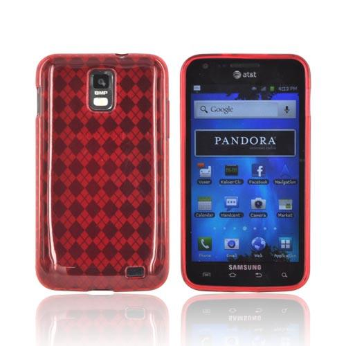 Samsung Galaxy S2 Skyrocket Crystal Silicone Case - Red (Argyle Interior)