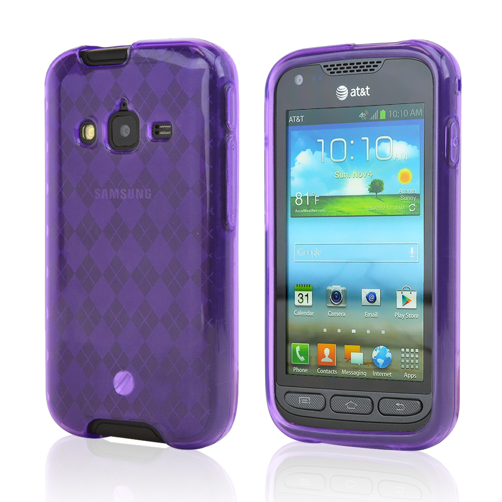 Purple Argyle Crystal Silicone Case for Samsung Rugby Pro