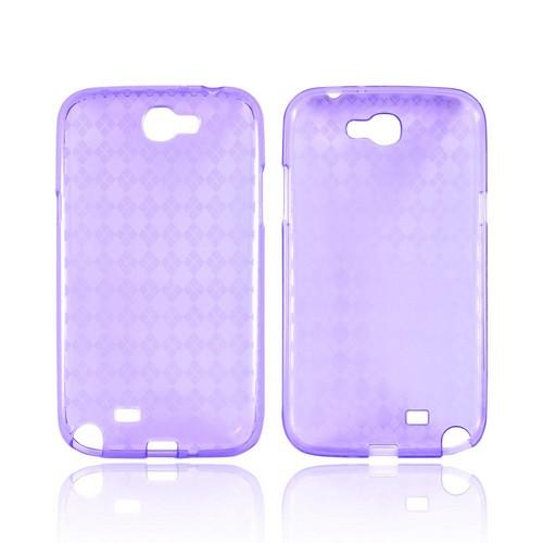 Samsung Galaxy Note 2 Crystal Silicone Case - Argyle Purple