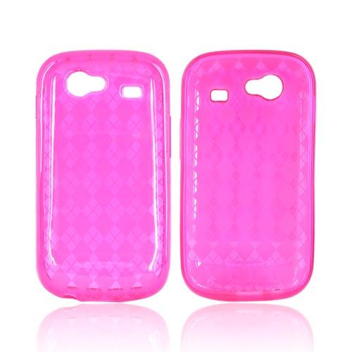 Google Nexus S Crystal Silicone Case - Argyle Design on Hot Pink