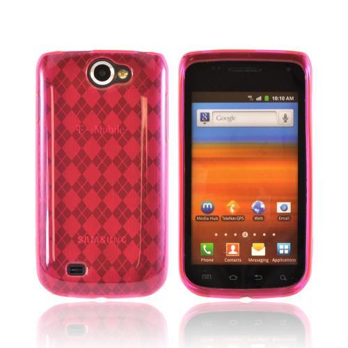 Samsung Exhibit 2 4G Crystal Silicone Case - Argyle Hot Pink